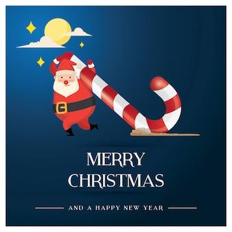 Weihnachtsgrußkarte, wenn sankt riesige süßigkeit trägt