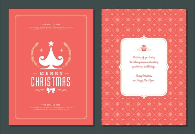 Weihnachtsgrußkarten-entwurfsschablone mit dekorationsetikettenvektorillustration