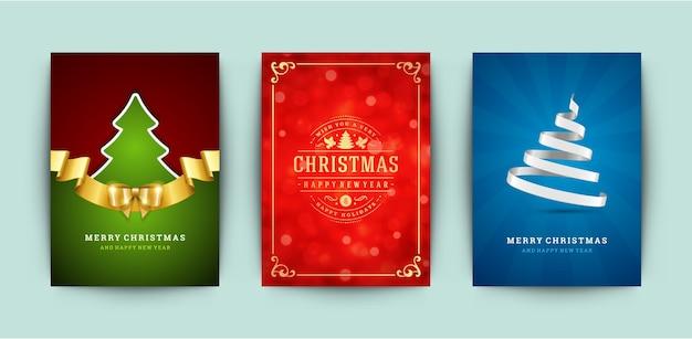 Weihnachtsgrußkarten gesetzt
