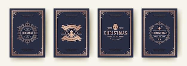 Weihnachtsgrußkarten setzen weinlese typografisches design verzierte dekorationssymbole