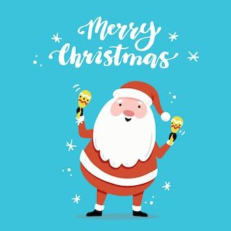 Weihnachtsgrußkartenentwurf mit karikatur-weihnachtsmanncharakter, handgezeichnete gestaltungselemente, beschriftung qoute frohe weihnachten.