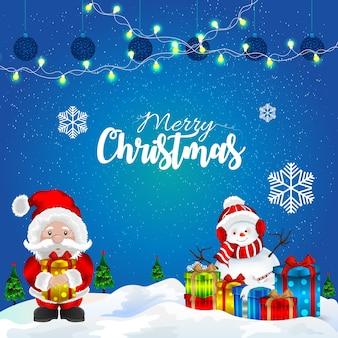 Weihnachtsgrußkartenentwurf mit kreativem weihnachtsmann und dekorationen mit geschenk