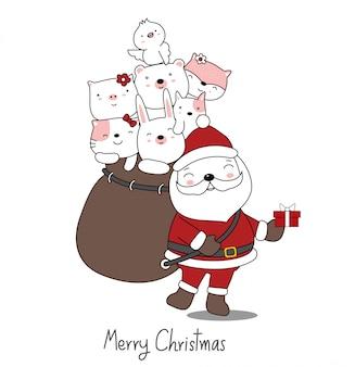 Weihnachtsgrußkartenentwurf mit weihnachtsmann mit niedlichem tierbaby. hand gezeichnete karikaturart.