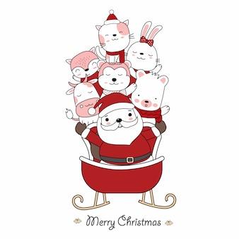 Weihnachtsgrußkartenentwurf mit weihnachtsmann und niedlichem tierbaby mit weihnachtsmannauto. hand gezeichnete karikaturart. vektorillustration.