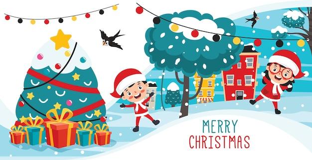 Weihnachtsgrußkartenentwurf mit zeichentrickfiguren