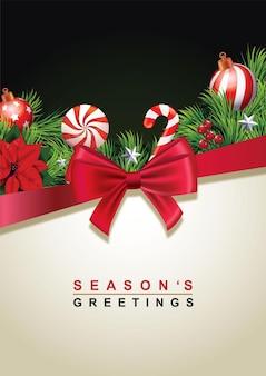Weihnachtsgrußkartenhintergrund mit tannenzweigen und roter satinschleife vektorillustration