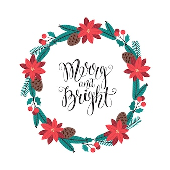 Weihnachtsgrußkartenschablone mit fröhlicher und heller beschriftung und blumenkranz vektorgrafiken