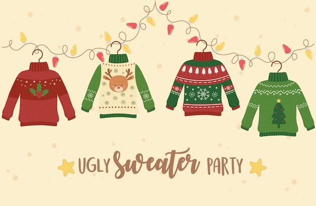 Weihnachtshässliche strickjackenpartei-dekorationsrotwild-schneeflocken-baumlichter