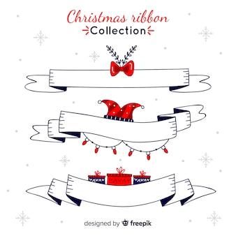 Weihnachtshand gezeichnete bänder sammlung