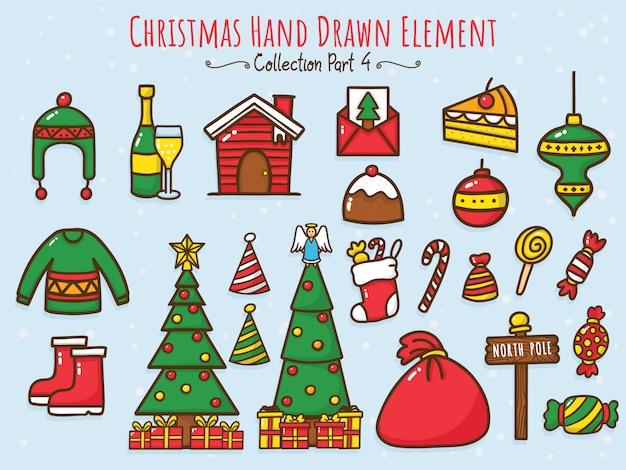 Weihnachtshand gezeichnete elementsammlung