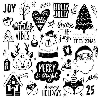 Weihnachtshand gezeichnete gekritzelillustration.