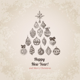 Weihnachtshand gezeichnete gravurillustration