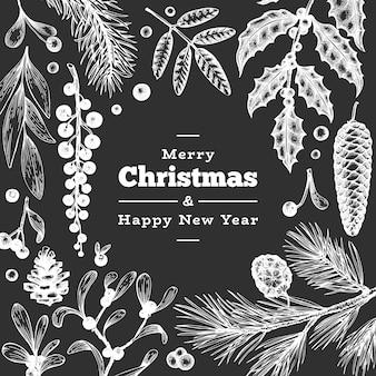 Weihnachtshand gezeichnete grußkartenschablone.