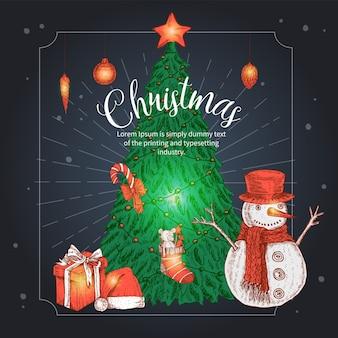 Weihnachtshand gezeichnete illustration