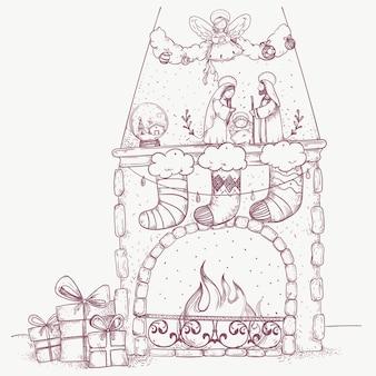 Weihnachtshand gezeichnete kaminszene