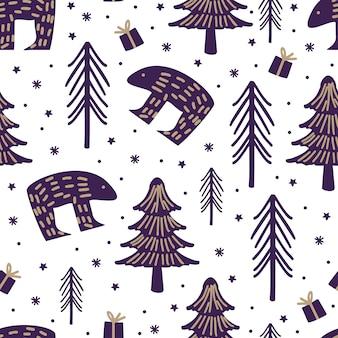 Weihnachtshand gezeichnete kindische nette zeichnung des nahtlosen musters