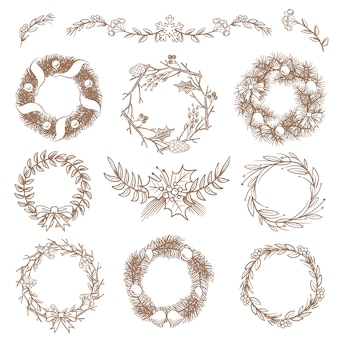 Weihnachtshand gezeichnete kränze, grenzrahmen mit tannenzweigvektor kritzeln gestaltungselemente. abbildung des weihnachtsrahmenkranzes