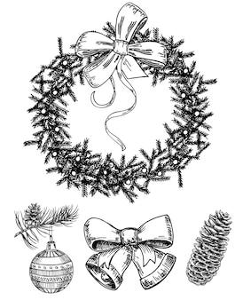 Weihnachtshand gezeichnete skizze gesetzt. isoliertes retrofeiertagsobjekt, symbol, element. weihnachtskranz, glocken, glaskugel auf einem tannenzweig, tannenzapfen.