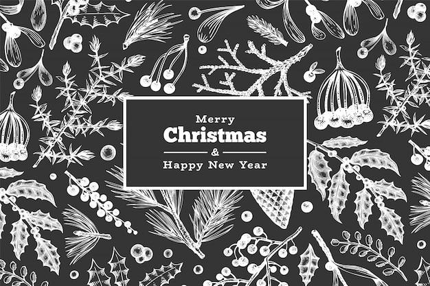 Weihnachtshand gezeichnete vektorgrußkartenschablone. weinleseartwinter pflanzt illustration auf kreidebrett
