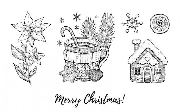 Weihnachtshand gezeichneter gekritzelikonensatz. gravierte frohe weihnachten, guten rutsch ins neue jahr, retro- skizze.