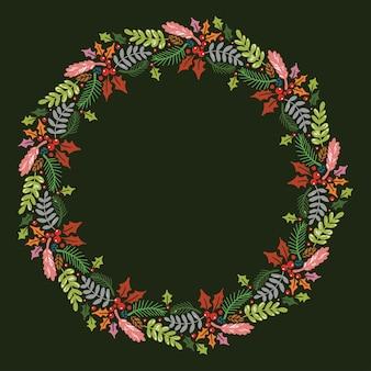 Weihnachtshand gezeichneter kranz
