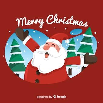 Weihnachtshand gezeichneter lächelnder weihnachtsmann-hintergrund