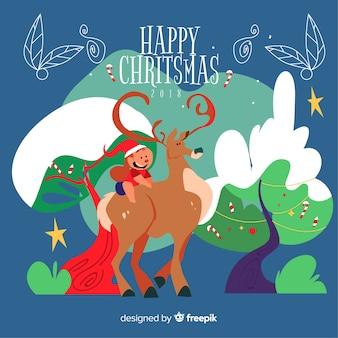 Weihnachtshand gezeichneter renekindhintergrund