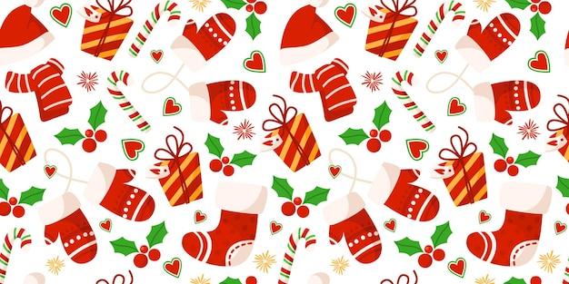 Weihnachtshandschuhe, geschenkbox, rote weihnachtsmütze und schal, zuckerstange, festliches muster