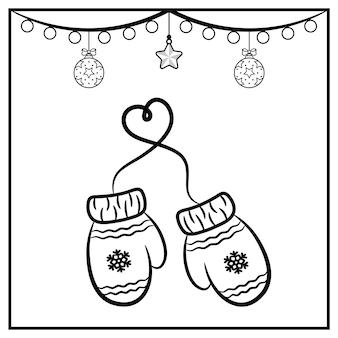 Weihnachtshandschuhe skizzieren mit ornament zum ausmalen