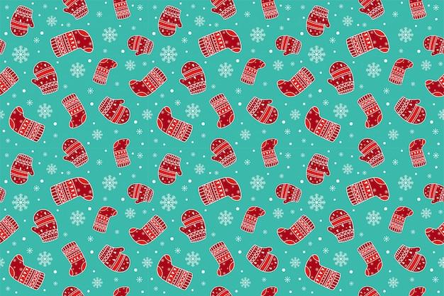 Weihnachtshandschuhe und nahtlose muster der socken.
