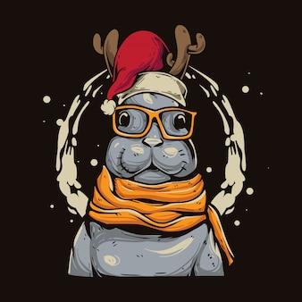 Weihnachtshasen-cartoon Premium Vektoren