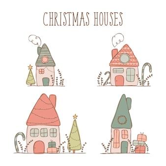 Weihnachtshaus-illustrationsaufkleber