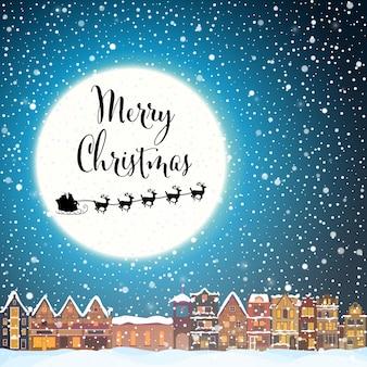 Weihnachtshaus in der schneefallnacht mit stadtfliegendem weihnachtsmann und hirschschnee und großem mond