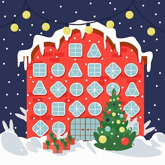 Weihnachtshaus mit verschiedenen fenstern weihnachtsbaum-vektor-illustration