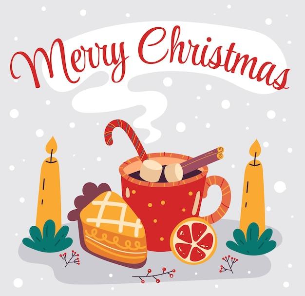 Weihnachtsheißgetränk mit stück kuchen frohe weihnachten und ein glückliches neues jahr karte