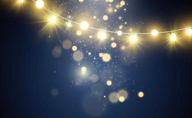 Weihnachtshelle schöne lichterdesignelemente glühende lichter für das design der weihnachtsgrußkarte