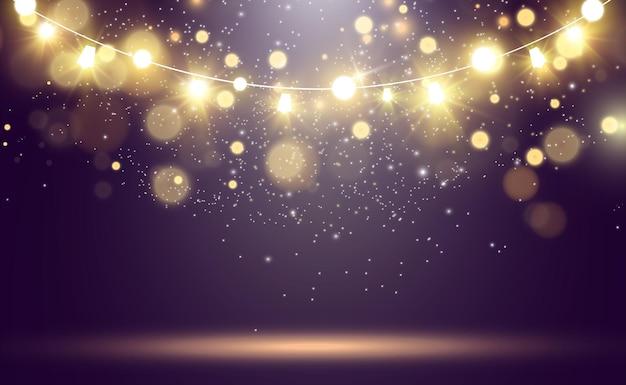 Weihnachtshelle schöne lichtergestaltungselemente glühende lichter für das design des weihnachtsgrußautos