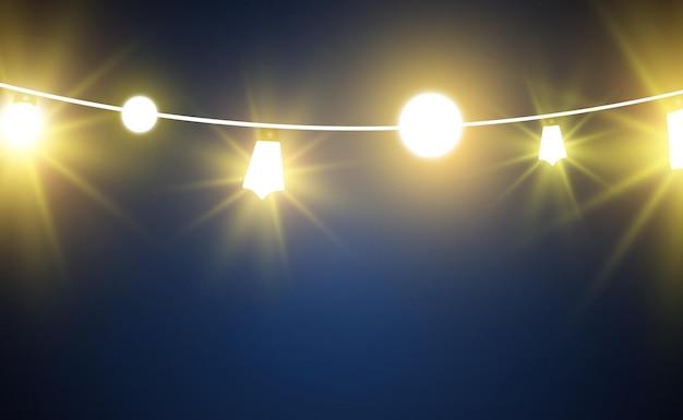 Weihnachtshelle schöne lichtergestaltungselemente glühende lichter für das design des weihnachtsgrußautos Premium Vektoren