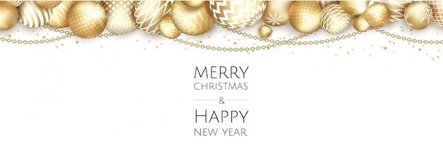 Weihnachtsheller hintergrund mit goldenen weihnachtsdekorationen, grußkarte der frohen weihnachten,