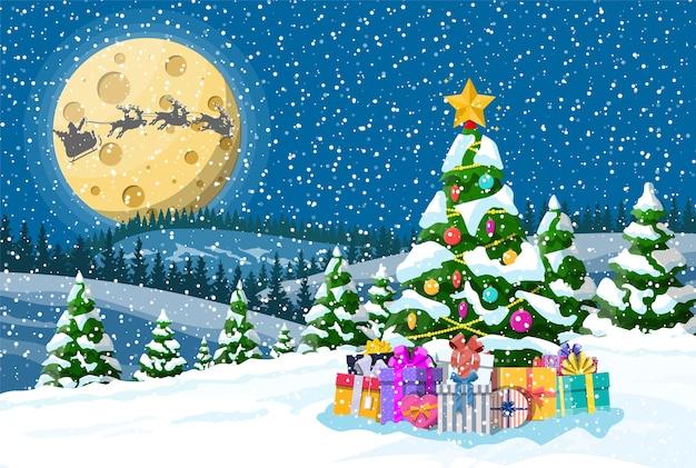 Weihnachtshintergrund. baumgeschenkboxen, weihnachtsmann reitet rentierschlitten. nacht winter landschaft tannen bäume wald vollmond schneit. neujahrsfeier weihnachtsfeiertag.