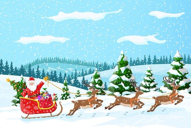 Weihnachtshintergrund. der weihnachtsmann reitet auf einem rentierschlitten. winterlandschaft mit tannenwald und schnee. frohes neues jahr feiern. neujahrs-weihnachtsfeiertag. illustration flachen stil