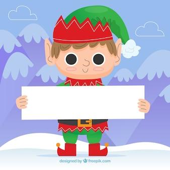 Weihnachtshintergrund des charakters mit einem plakat