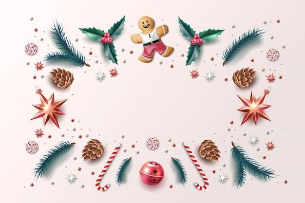 Weihnachtshintergrund-feiertagssymbol 3d gesetzt