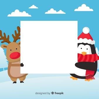 Weihnachtshintergrund flache freunde