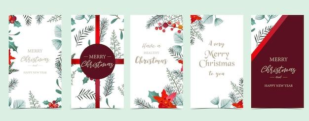 Weihnachtshintergrund für social media. set der geschichte mit blume, blatt, band