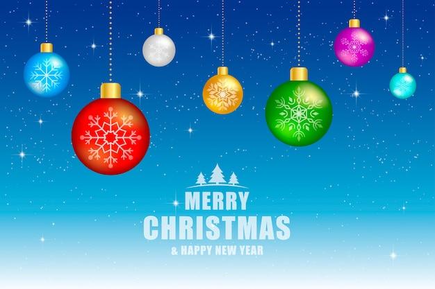 Weihnachtshintergrund, grußkarte. bunte weihnachtsbälle mit schwarzem hintergrund.