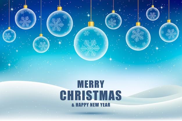 Weihnachtshintergrund, grußkarte. weihnachtsbälle mit schwarzem hintergrund.