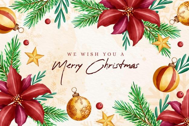 Weihnachtshintergrund im aquarell mit roten blumen