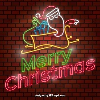 Weihnachtshintergrund im neon mit weihnachtsmann