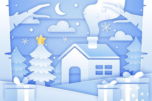 Weihnachtshintergrund im papierstil